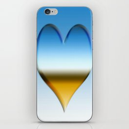 Blue heart with golden touch  iPhone Skin