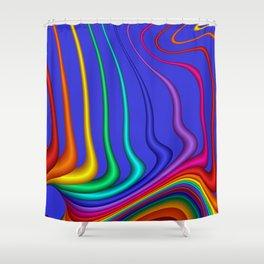 fractal lines on blue Shower Curtain