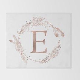 Letter E Rose Gold Pink Initial Monogram Throw Blanket
