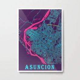Asuncion Neon City Map, Asuncion Minimalist City Map Art Print Metal Print