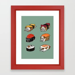 Sushi English Bulldog Framed Art Print