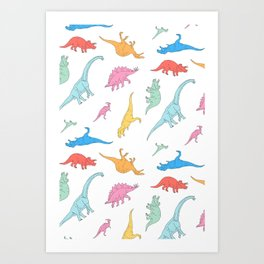 Dino Doodles Art Print