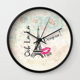 Paris Eiffel Tower Bonjour Oh La La Wall Clock