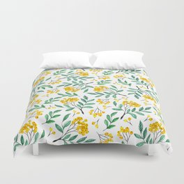 Hand painted yellow green watercolor berries floral pattern Duvet Cover