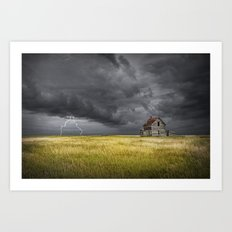 Thunderstorm on the Prairie with abandoned farmhouse Art Print