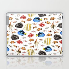 Tropical Fish on White - pattern Laptop & iPad Skin
