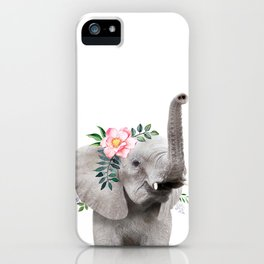 Baby Elephant with Flower Crown iPhone Case