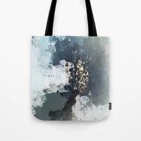 flight Tote Bags featuring flight by Rafael Igualada