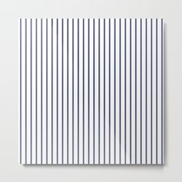Posey Violet Thin Pinstripe on White Metal Print