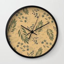 crayon leaf pattern yellow Wall Clock
