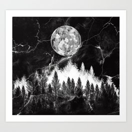 marble black and white landscape Art Print