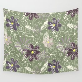 plum purple sage doodle feathers and flowers Wall Tapestry