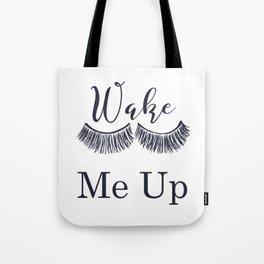 Wake Me Up Closed Sleeping Eyes Navy Blue Eyelashes Tote Bag