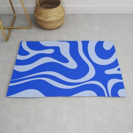 Retro Modern Liquid Swirl Abstract Pattern Square Royal Blue and Light Blue Rug