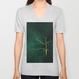 Kintsugi Emerald #green #gold #kintsugi #japan #marble #watercolor #abstract Unisex V-Neck