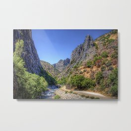 California USA Nature Mountains Roads Scenery river Shrubs mountain landscape photography Rivers Bush Metal Print