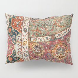 Persian Medallion Rug II // 16th Century Distressed Red Green Blue Flowery Colorful Ornate Pattern Pillow Sham