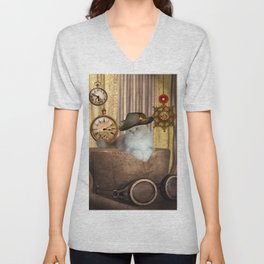 Steampunk, beautiful cat with steampunk hat Unisex V-Neck