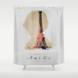 Amelie, minimalist movie poster, french film playbill, the fabulous life of Amélie Poulain, Shower Curtain