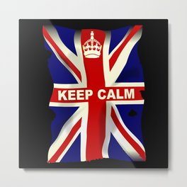 Keep Calm Union Jack Metal Print