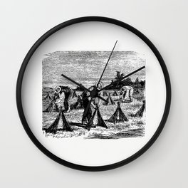 Flax rollover from Six Weeks Vacation by Paul Poire (1880) Wall Clock