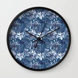 Blue Flora Wall Clock