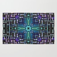 sci fi Area & Throw Rugs featuring Sci Fi Metallic Shell by Phil Perkins