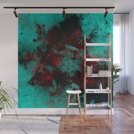 Ruby Galaxy - Abstract cyan, red and black space themed painting Wall Mural