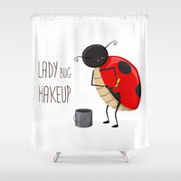 makeup Shower Curtains featuring Ladybug makeup by Creaschon