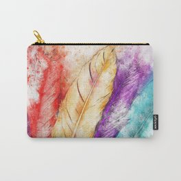 Watercolor Feathers Carry-All Pouch