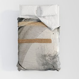 Armor [7]: a bold minimal abstract mixed media piece in gold, black and white Comforters