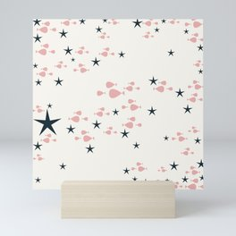 fish and stars pink Mini Art Print