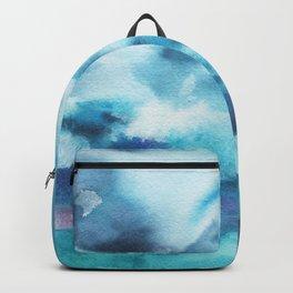 Watercolor blue sea Backpack