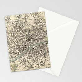 Vintage Map of Glasgow Scotland (1872) Stationery Cards