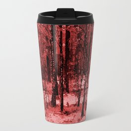 Red enchanted forest, magical nature, beautiful view, calm place, rich colors wild nature painting Travel Mug