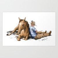 Siesta | Sleeping Horse & Cowboy Art Print