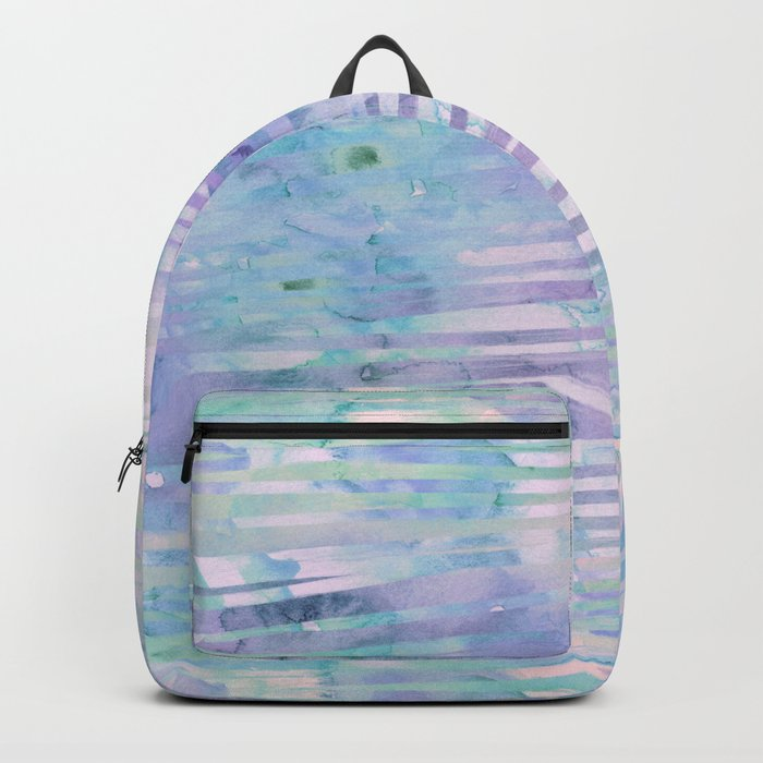 Modern hand drawn geometric stripes purple watercolor pattern Backpack