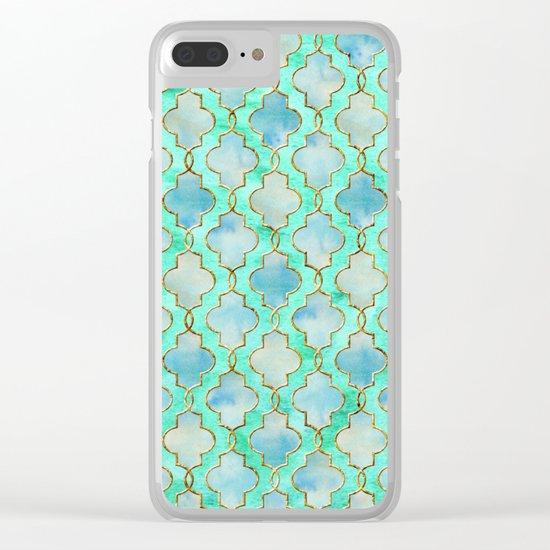 Luxury Aqua Teal Mint and Gold oriental quatrefoil pattern Clear iPhone Case