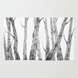 Birch Tree Watercolour Painting black-and-white | Black and White | Minimalism Rug