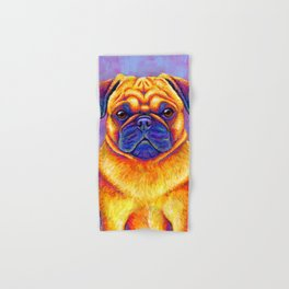 Colorful Rainbow Pug Portrait Hand & Bath Towel
