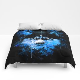 husky dog face splatter watercolor blue Comforters
