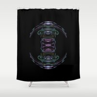 spaceship Shower Curtains featuring Spaceship by tjustleft