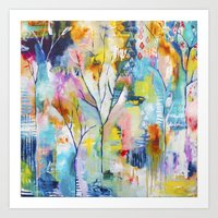 flora bowley Art Prints featuring Prussian Trees Original Painting by Flora Bowley by Flora Bowley