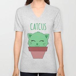 Cat Lovers Gift Catcus Funny Cactus Cat Pun Present Unisex V-Neck