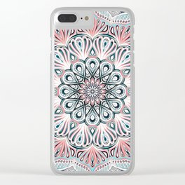 Expansion - boho mandala in soft salmon pink & blue Clear iPhone Case