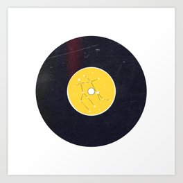 Vinyl Record Star Sign Art | Gemini | Yellow Art Print