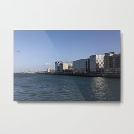 Etihad A340 coming low up the Liffey Dublin at Flightfest Metal Print