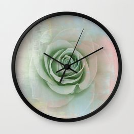 Elegant Painterly Mint Green Rose Abstract Wall Clock
