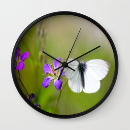 White Butterfly  Wall Clock