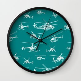 Helicopters on Teal Wall Clock